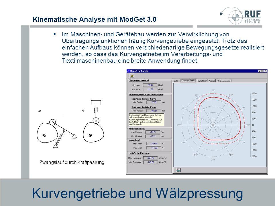 Kinematische Analyse mit ModGet 3.0 Kurvengetriebe und Wälzpressung Kinematische Abmessungen Übertragungswinkel.