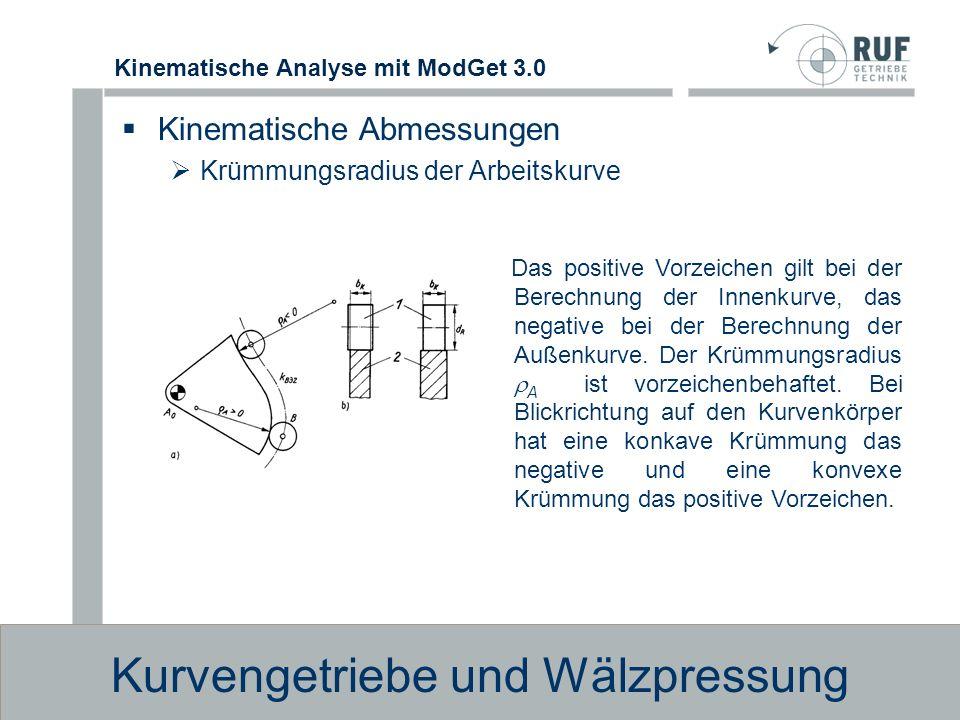 Kinematische Analyse mit ModGet 3.0 Kurvengetriebe und Wälzpressung Wälzpressung im Kurvengelenk (zylindrische Rolle ) Der Verschleiß in einem Kurvengetriebe und damit seine Lebensdauer sind im wesentlichen von der Beanspruchung im Kurvengelenk abhängig.