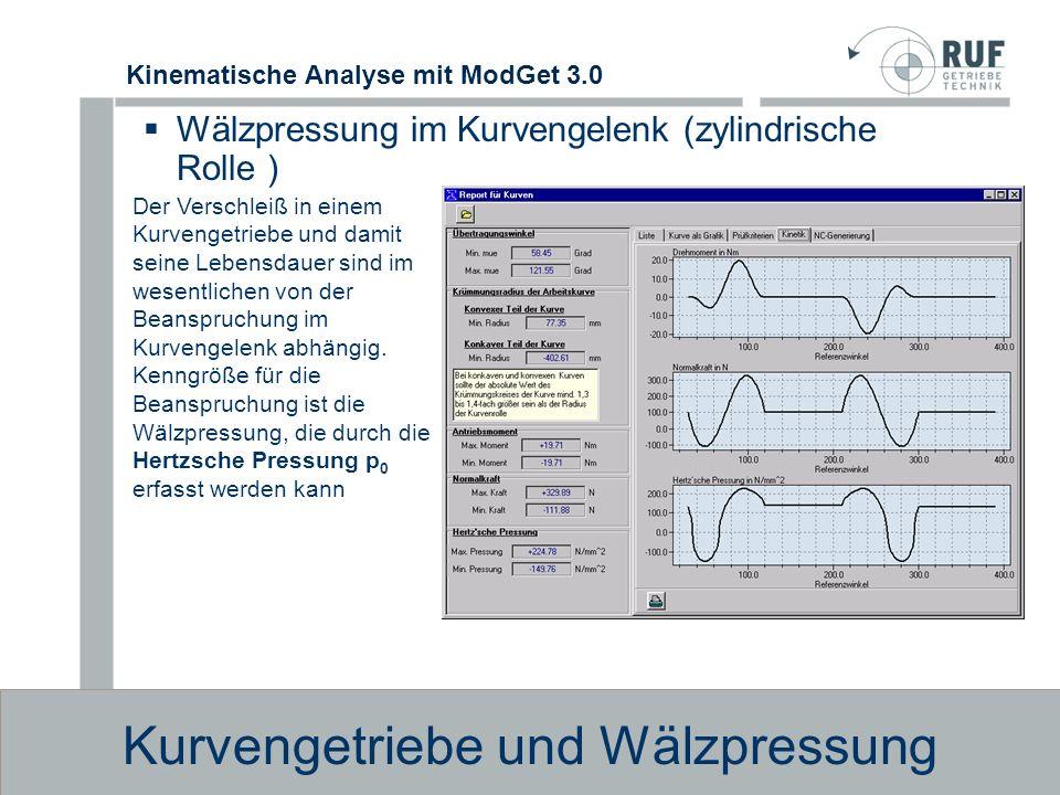 Kinematische Analyse mit ModGet 3.0 Kurvengetriebe und Wälzpressung Beispiel: Kurvengetriebe mit Hebel und angelenkter Feder Die Export-M ö glichkeit erlaubt den Datenaustausch mit CAD Programmen wie HP Me10 oder Solidworks