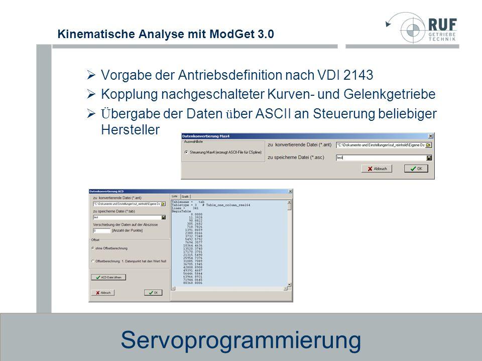 Kinematische Analyse mit ModGet 3.0 Analyseresultate Es lassen sich u.a.