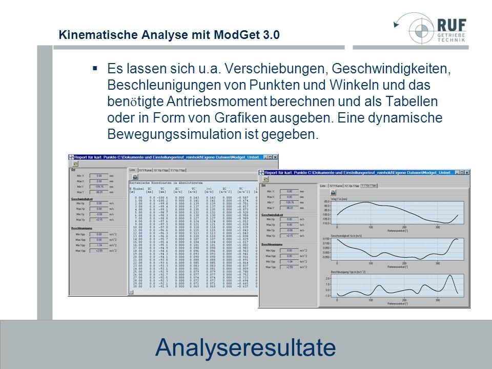 Kinematische Analyse mit ModGet 3.0 Datenaustausch Ü ber Standardschnittstellen k ö nnen Bewegungsverl ä ufe an die 3D- Simulationsprogramme Working-Model, Visual – Nastran 4D sowie Dynamic-Designer ü bergeben werden.