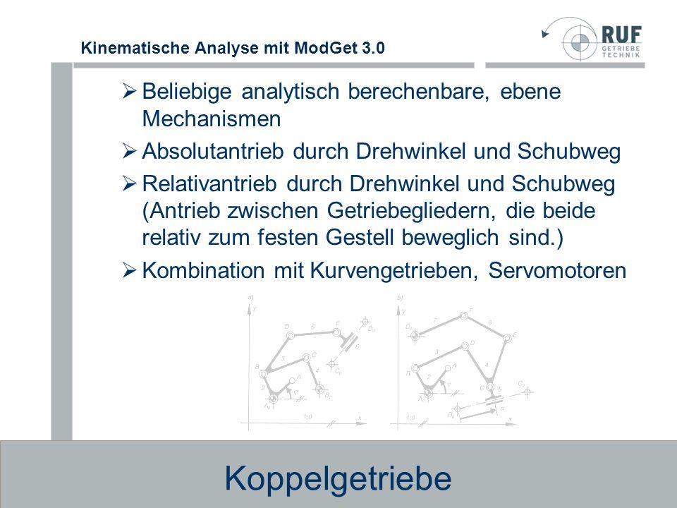 Kinematische Analyse mit ModGet 3.0 Kurvengetriebe invers kinematische Berechnung der Kurvenk ö rper Umlaufende Kurvenscheiben/Zylinderkurven mit gleichf ö rmigem / ungleichf ö rmigem Antrieb Eingriffsglied mit einer oder zwei Rollen geradschiebend oder drehend Scheibe in Au ß en-, Innen-, Nut-, Wulst- oder Doppelausf ü hrung Kopplung vor- oder nachgeschalteter Koppelgetriebe