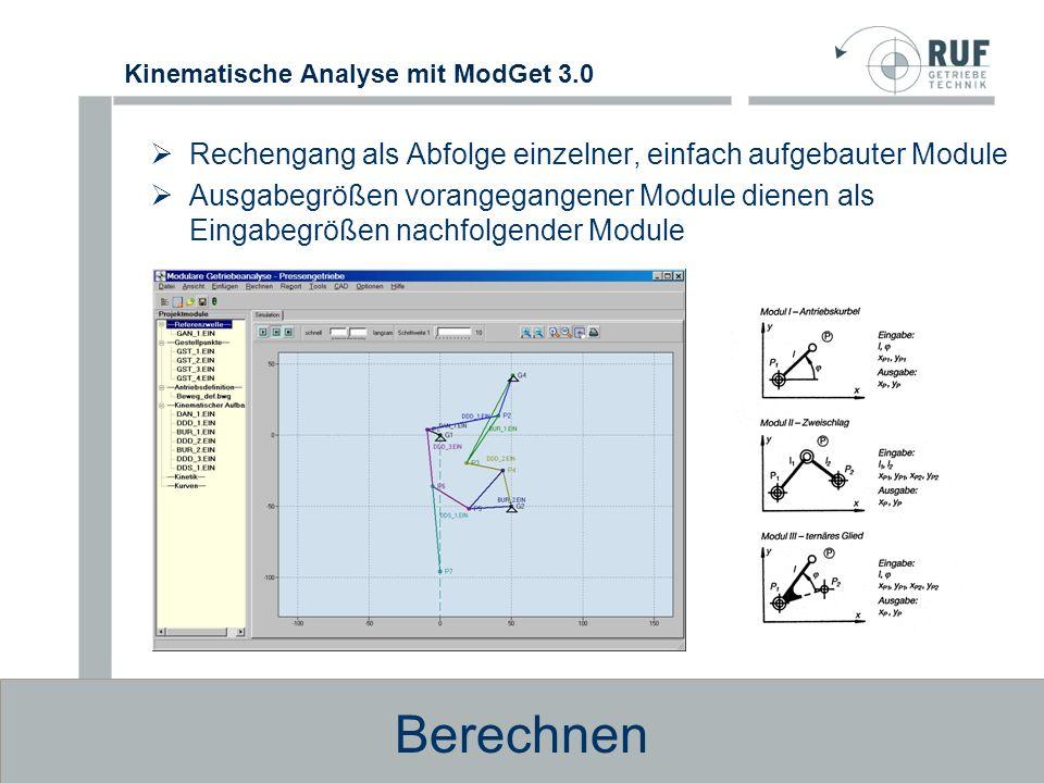 Kinematische Analyse mit ModGet 3.0 Keine Beschränkung auf bestimmte Getriebestrukturen durch Kombination von Modulen sind unterschiedlichste Getriebestrukturen möglich Beispiele für berechenbare Getriebebauformen Zulässige Getriebestrukturen