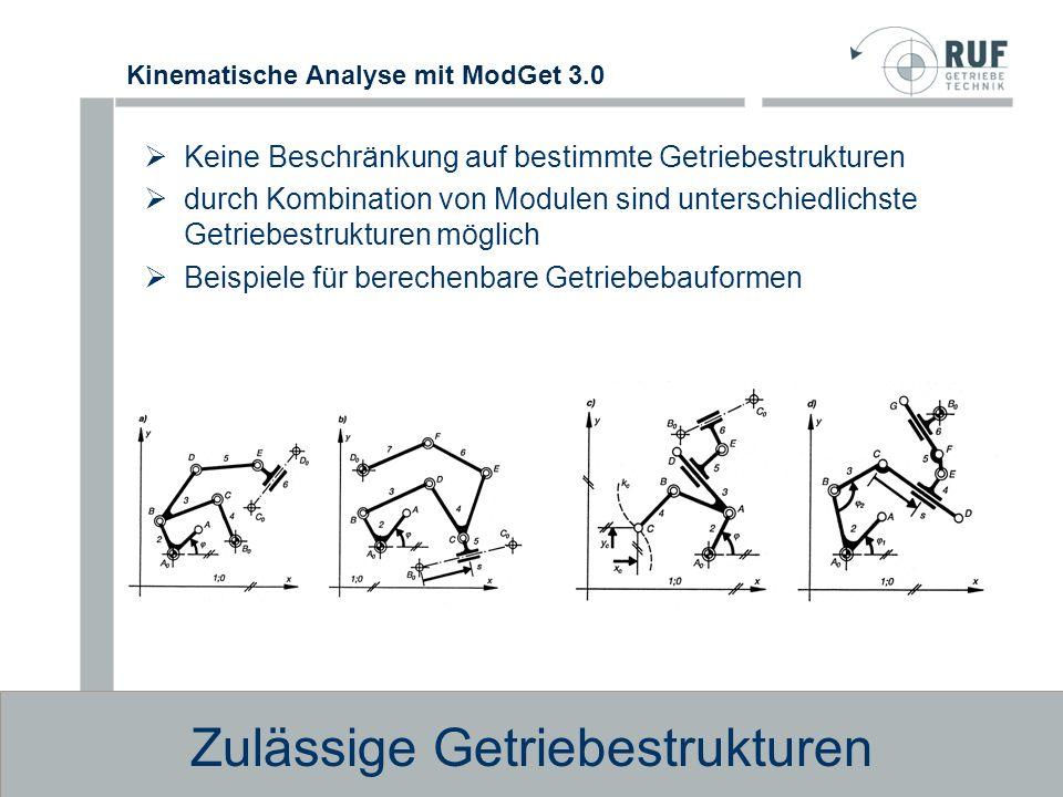 Kinematische Analyse mit ModGet 3.0 Beispiele für nicht berechenbare Getriebebauformen mit viergliedrigen Anschlußgruppen Nicht berechenbare Getriebestrukturen