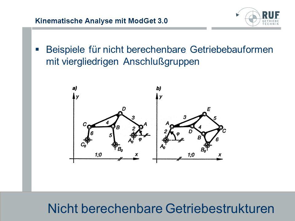 Kinematische Analyse mit ModGet 3.0 Beispiel für Berechnungsabfolge Berechnungsabfolge Auflistung der Module nach Reihenfolge der Berechnung Beispiel für Moduldefinition