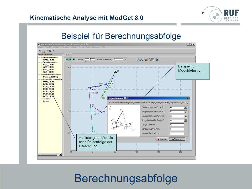 Kinematische Analyse mit ModGet 3.0 Dynamik, Kinetostatik Berechnung des Antriebsmoments nach Vorgabe von Massen, Federn, Kr ä ften