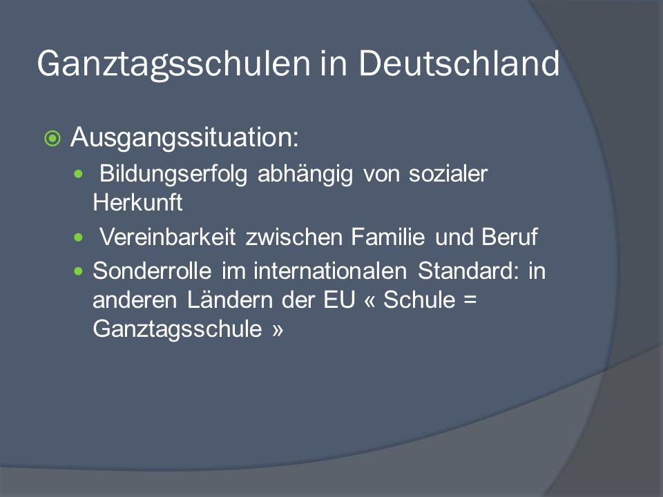Ganztagsschulen in Deutschland Ausgangssituation: Bildungserfolg abhängig von sozialer Herkunft Vereinbarkeit zwischen Familie und Beruf Sonderrolle i