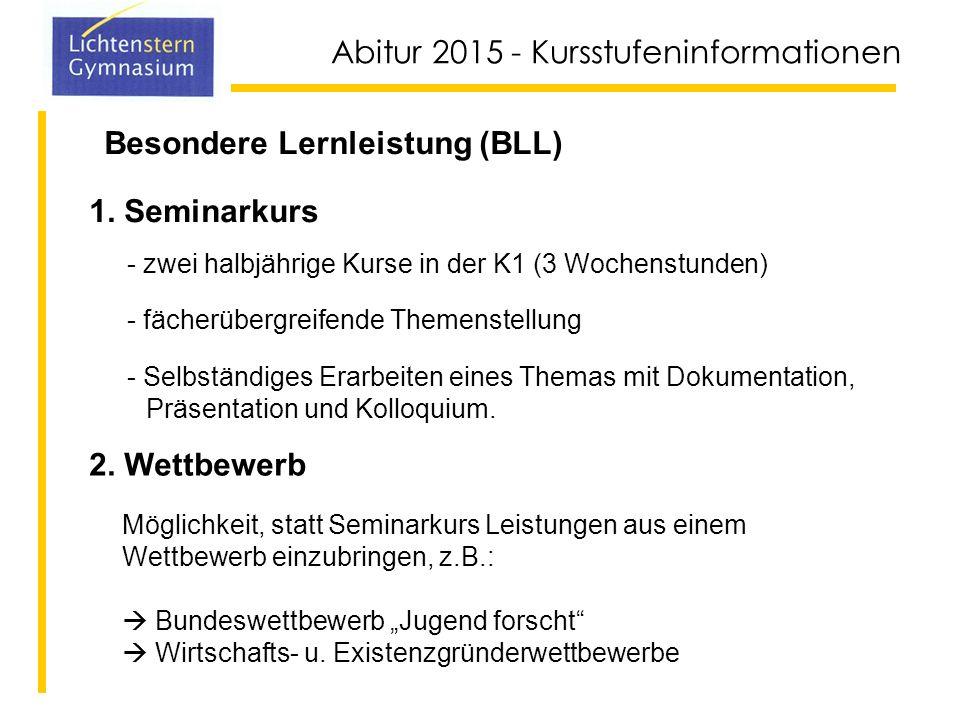 Abitur 2015 - Kursstufeninformationen Kernfächer Deutsch 4 Std Mathe 4 Std Englisch 4 Std Biologie 4 Std Musik 4 Std 20 Std.