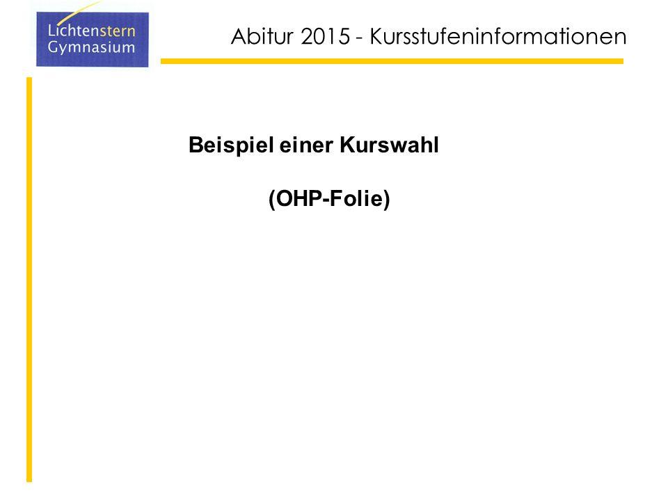 Abitur 2015 - Kursstufeninformationen 15-Punkte-System Belegpflichtige Kurse mit 0 Punkten gelten als nicht besucht u.U.