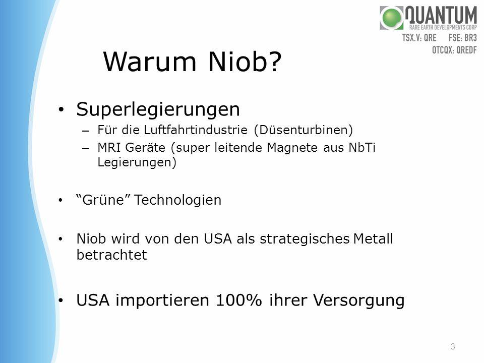 Der Markt für Niob Der Bedarf für Niob ist über die letzen 10 Jahre mit einer durchschnittlichen jährlichen Wachstumsrate von 10% gewachsen und wird weiter steigend vorhergesagt.