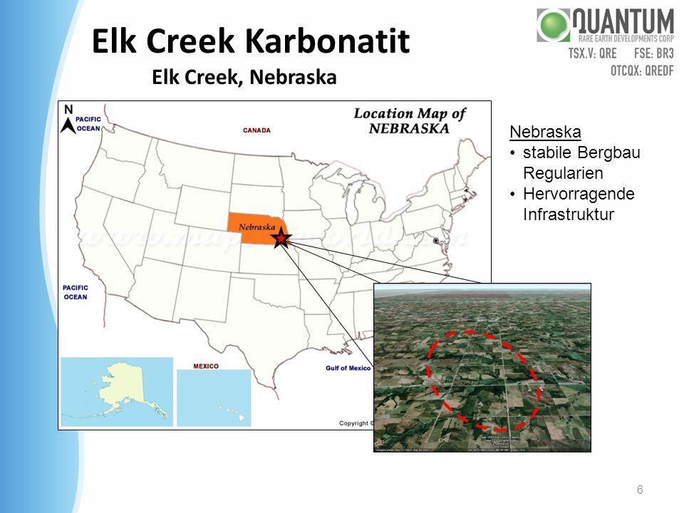 Elk Creek Karbonatit Mineralisierte Zonen – Niob und Seltene Erden Ergebnisse der Neuanalyse historischer Bohrkerne Niob (Nb 2 O 5 ) Highlights: EC-11 (historisch – Neuanalyse) : 71,6m @ 1,19% -EC-16 (historisch – Neuanalyse): 67,1m @ 0,91% - EC-29 (historisch – Neuanalyse): 201,2m @ 0,99% - EC-30 (historisch – Neuanalyse) : 36,6m @ 1,12% - NEC-11-001 (neue Bohrung): 235,2m @ 0,73% Incl.