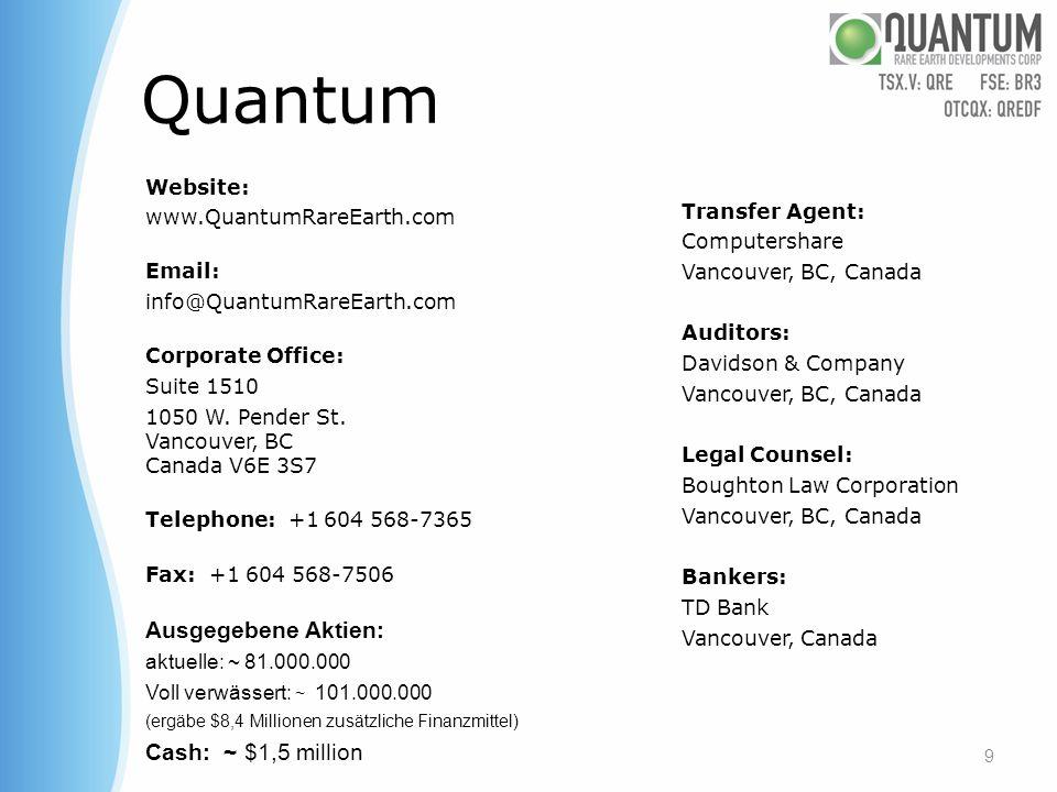 Quantum Website: www.QuantumRareEarth.com Email: info@QuantumRareEarth.com Corporate Office: Suite 1510 1050 W. Pender St. Vancouver, BC Canada V6E 3S
