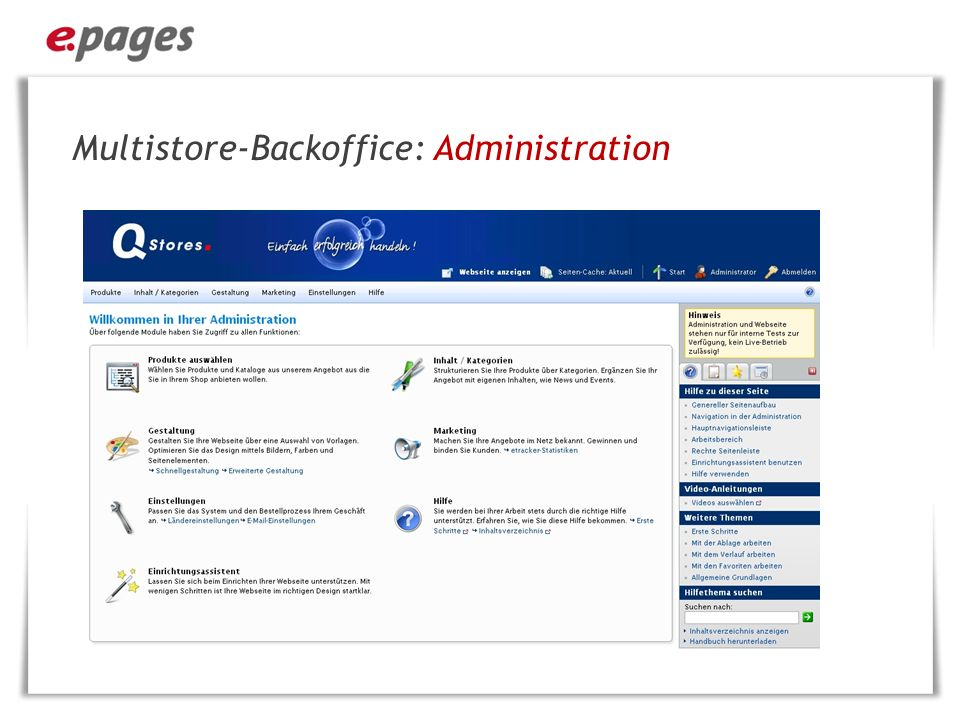 Multistore-Backoffice: Administration