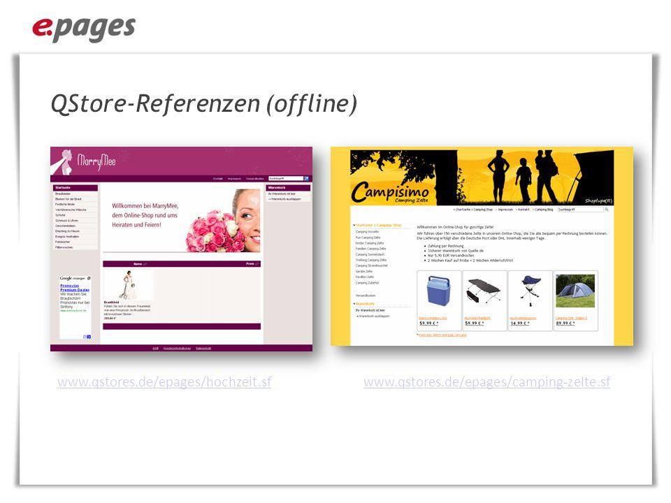 QStore-Referenzen (offline) http://www.qstores.de/epages/kinderspielfa brik.sf http://www.qstores.de/epages/alex-technik- shop.sf/