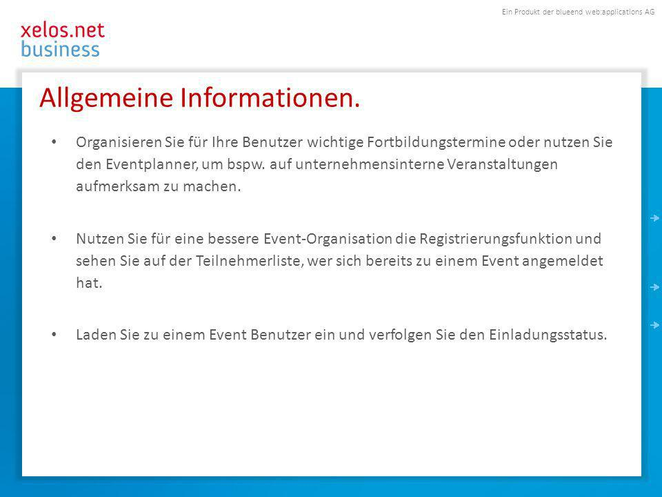 Ein Produkt der blueend web:applications AG Allgemeine Informationen.
