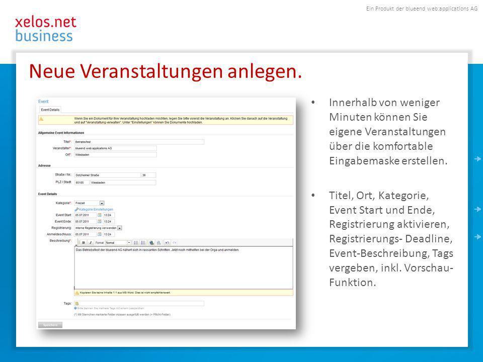 Ein Produkt der blueend web:applications AG Neue Veranstaltungen anlegen.