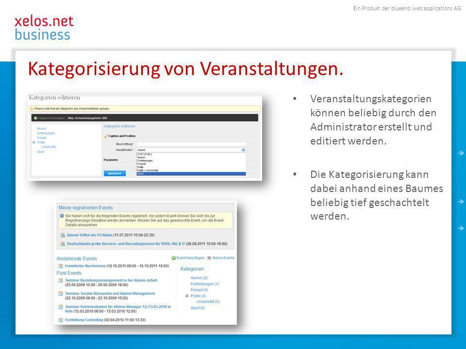 Ein Produkt der blueend web:applications AG Kategorisierung von Veranstaltungen.