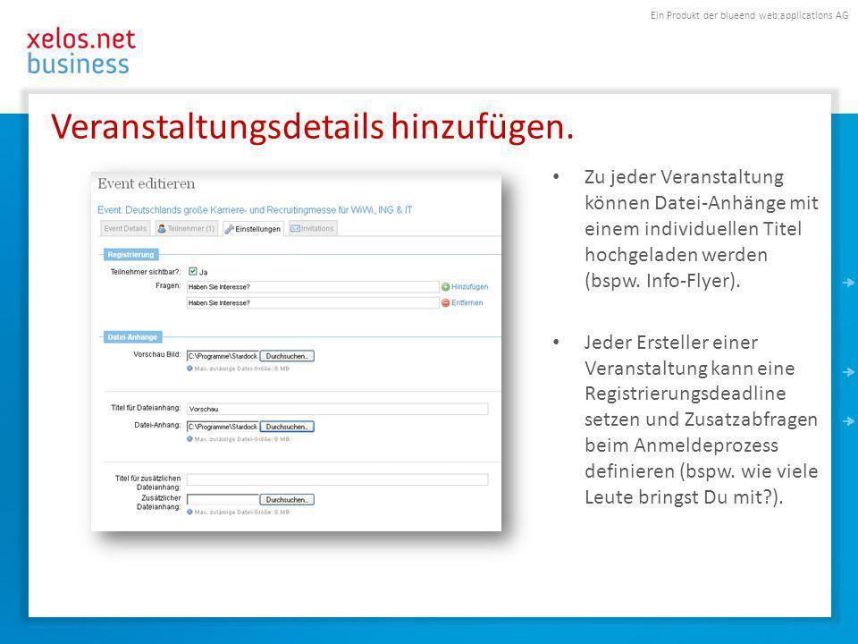 Ein Produkt der blueend web:applications AG Veranstaltungsdetails hinzufügen.
