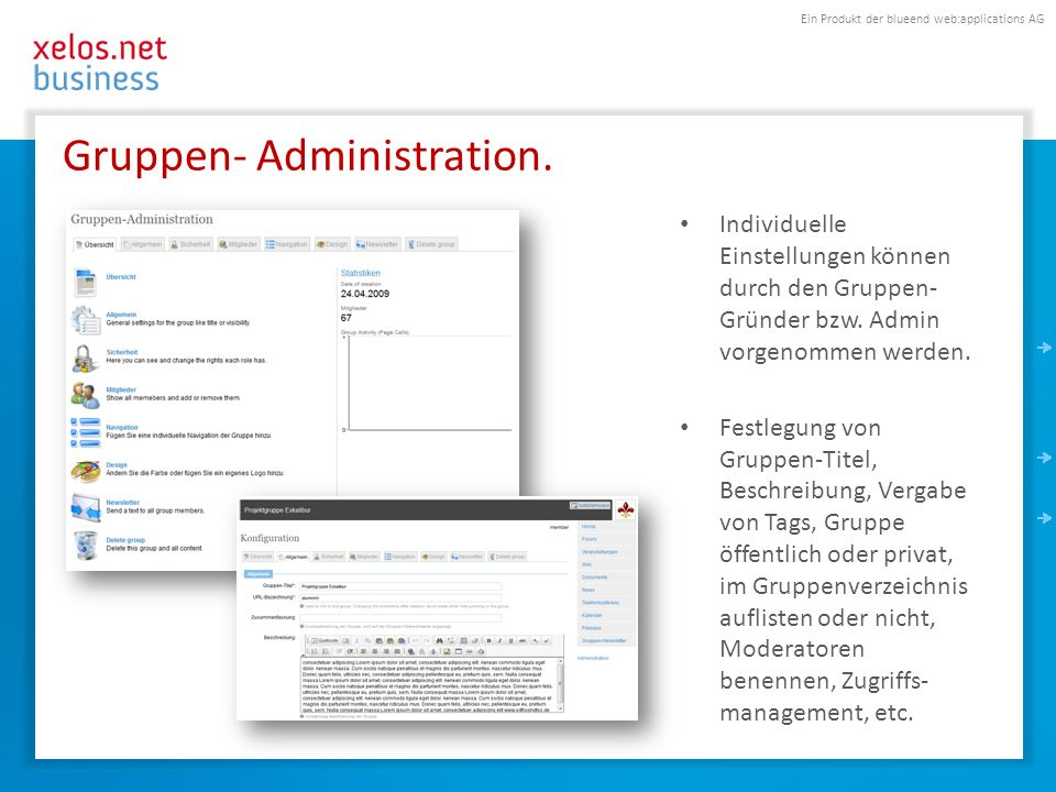 Ein Produkt der blueend web:applications AG Gruppen- Administration.