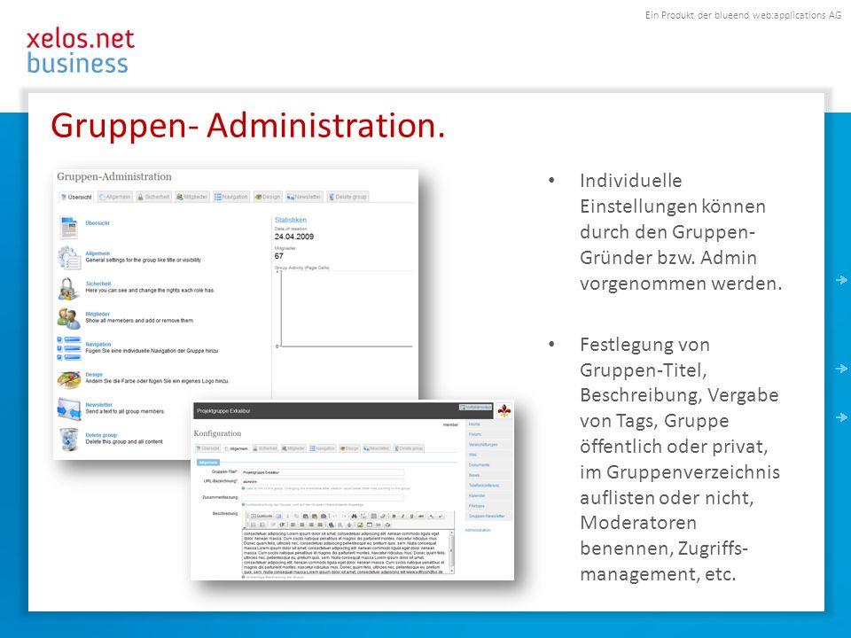 Ein Produkt der blueend web:applications AG Gruppen- Module aktivieren & konfigurieren.