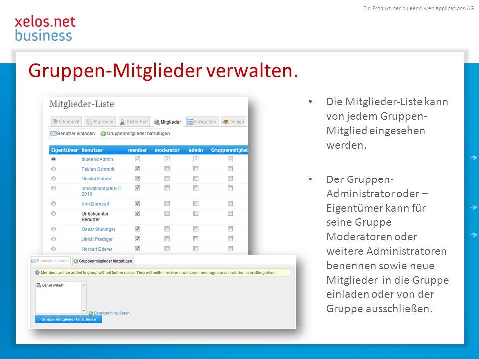 Ein Produkt der blueend web:applications AG Rechtemanagement innerhalb einer Gruppe.