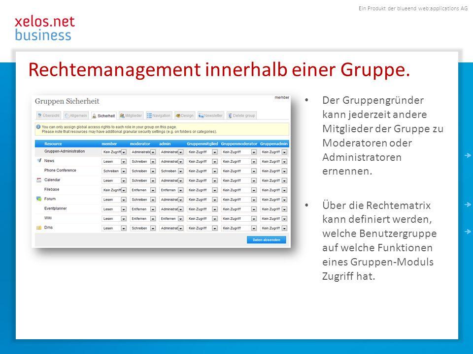 Ein Produkt der blueend web:applications AG Rechtemanagement innerhalb einer Gruppe. Der Gruppengründer kann jederzeit andere Mitglieder der Gruppe zu