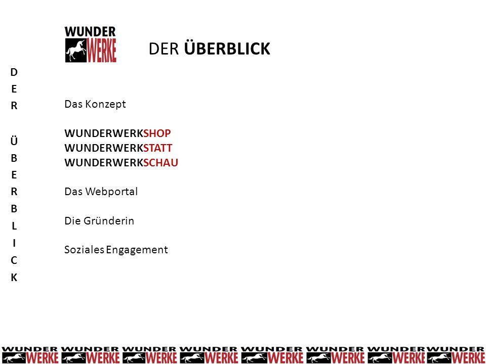 Das Konzept WUNDERWERKSHOP WUNDERWERKSTATT WUNDERWERKSCHAU Das Webportal Die Gründerin Soziales Engagement DER ÜBERBLICK