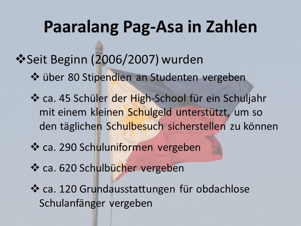 Paaralang Pag-Asa in Zahlen Seit Beginn (2006/2007) wurden über 80 Stipendien an Studenten vergeben ca. 45 Schüler der High-School für ein Schuljahr m