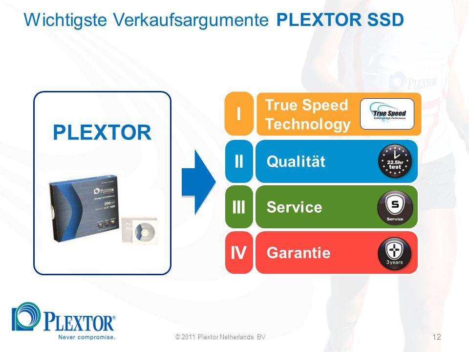 12 Qualität Service Garantie PLEXTOR True Speed Technology Wichtigste Verkaufsargumente PLEXTOR SSD 12 © 2011 Plextor Netherlands BV II III IV I