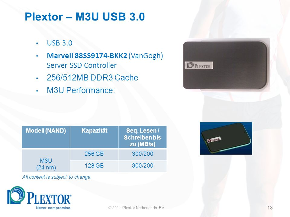 18 Plextor – M3U USB 3.0 USB 3.0 Marvell 88SS9174-BKK2 (VanGogh) Server SSD Controller 256/512MB DDR3 Cache M3U Performance: Modell (NAND)KapazitätSeq.