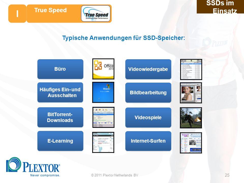 Büro E-Learning BitTorrent- Downloads Häufiges Ein- und Ausschalten Typische Anwendungen für SSD-Speicher: Videowiedergabe Internet-Surfen Videospiele Bildbearbeitung SSDs im Einsatz 25 25 True Speed © 2011 Plextor Netherlands BV 25 I