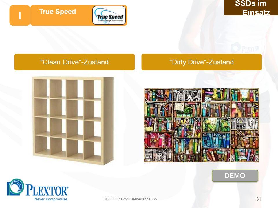 Geschwindigkeitsverl ust durch häufige Textverarbeitung Dirty Drive -Zustand SSDs im Einsatz 31 31 True Speed Clean Drive -Zustand © 2011 Plextor Netherlands BV 31 I DEMO