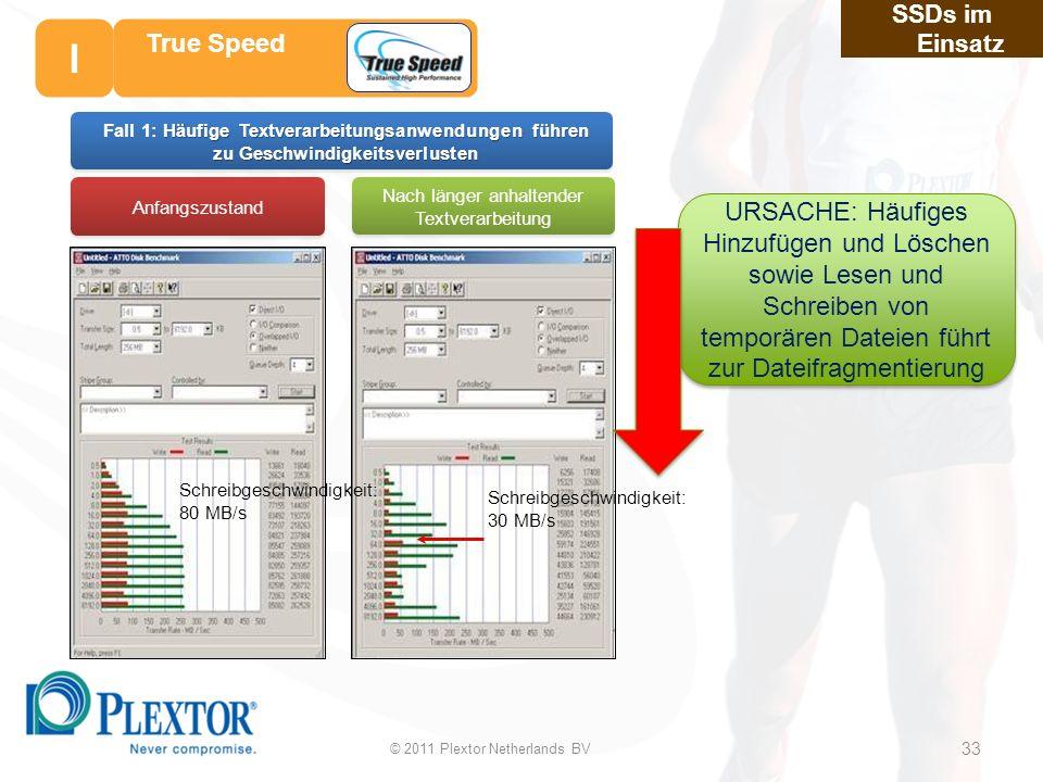 33 Nach länger anhaltender Textverarbeitung Anfangszustand Schreibgeschwindigkeit: 80 MB/s Schreibgeschwindigkeit: 30 MB/s Häufige Textverarbeitungsanwendungen führen zu Geschwindigkeitsverlusten Fall 1: Häufige Textverarbeitungsanwendungen führen zu Geschwindigkeitsverlusten SSDs im Einsatz True Speed URSACHE: Häufiges Hinzufügen und Löschen sowie Lesen und Schreiben von temporären Dateien führt zur Dateifragmentierung © 2011 Plextor Netherlands BV 33 I