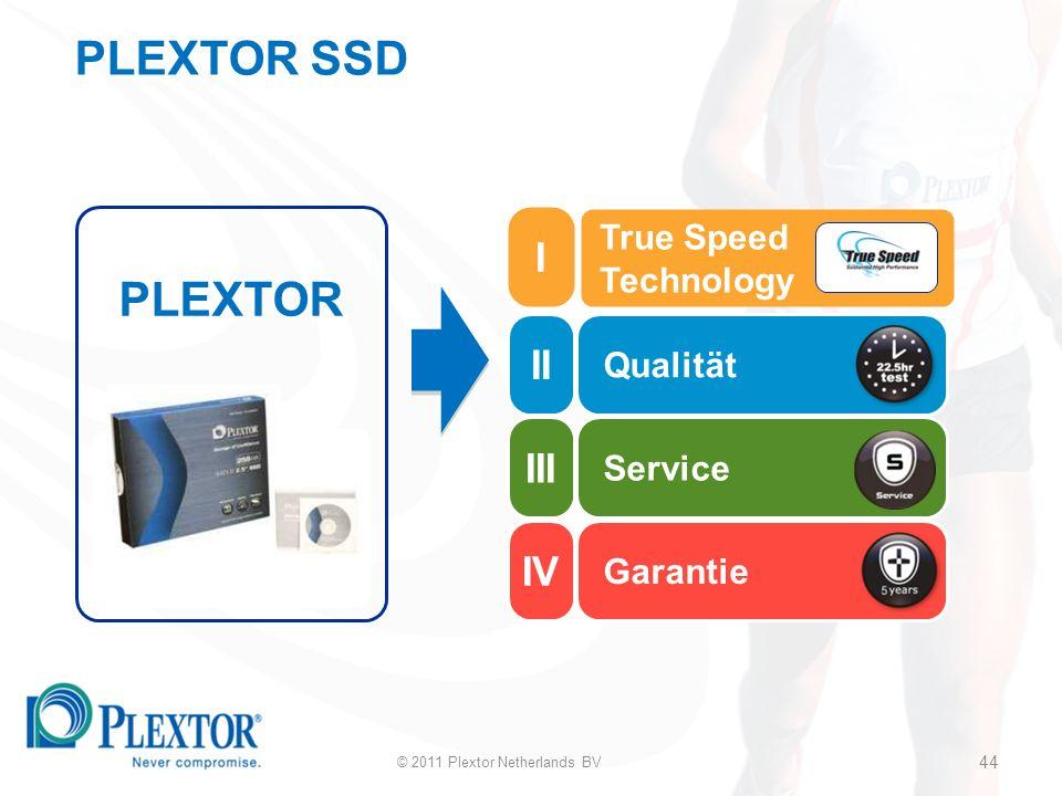 44 Qualität Service Garantie PLEXTOR True Speed Technology © 2011 Plextor Netherlands BV 44 II III IV I PLEXTOR SSD