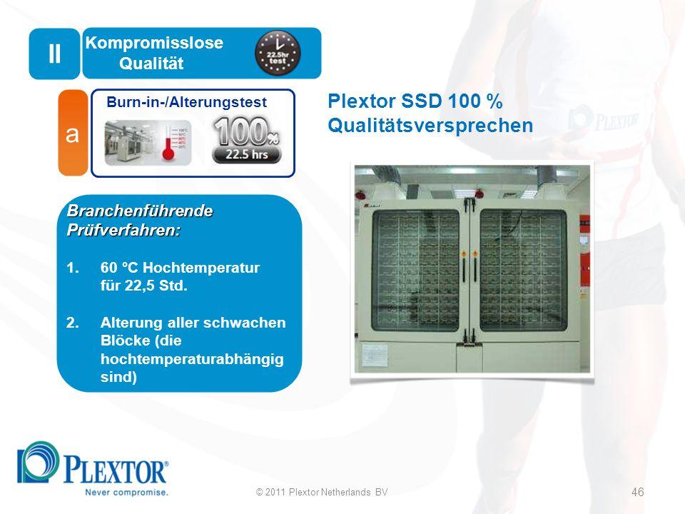 Plextor SSD 100 % Qualitätsversprechen Burn-in-/Alterungstest a Branchenführende Prüfverfahren: 1.