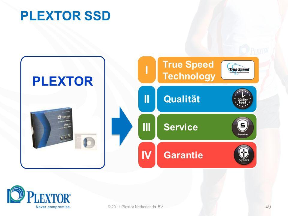 49 Qualität Service Garantie PLEXTOR True Speed Technology © 2011 Plextor Netherlands BV 49 PLEXTOR SSD II III IV I