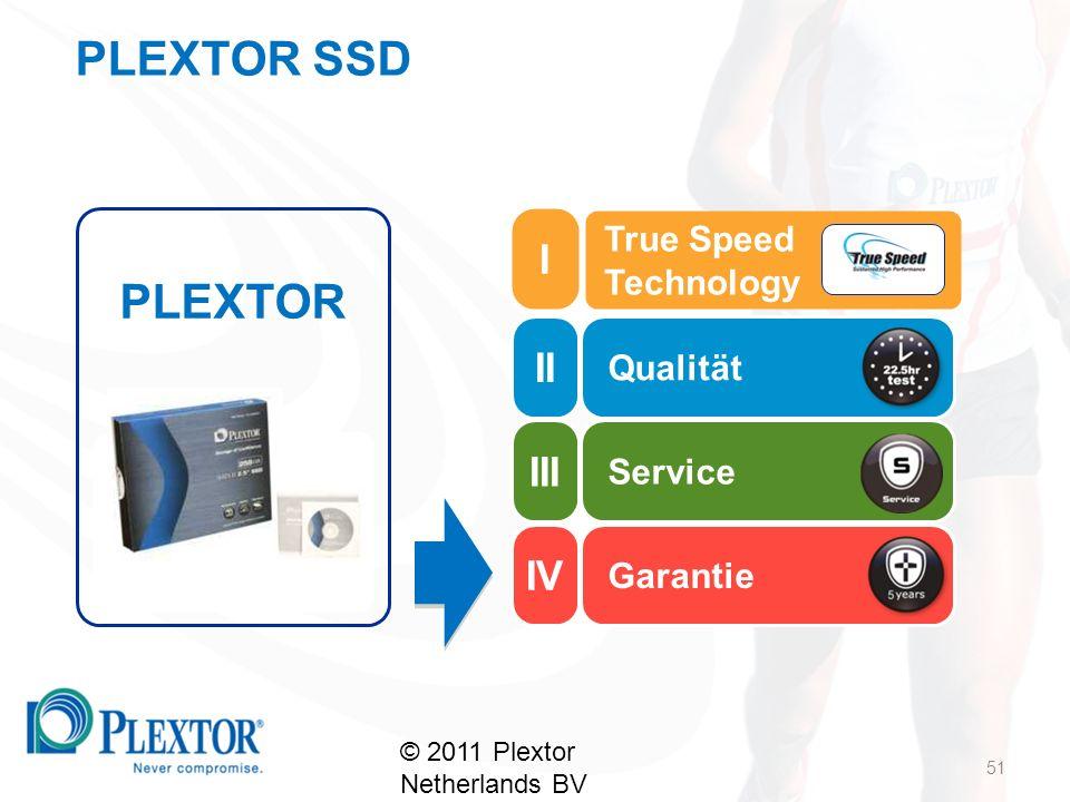 Qualität Service Garantie PLEXTOR True Speed Technology 51 © 2011 Plextor Netherlands BV II III IV I PLEXTOR SSD
