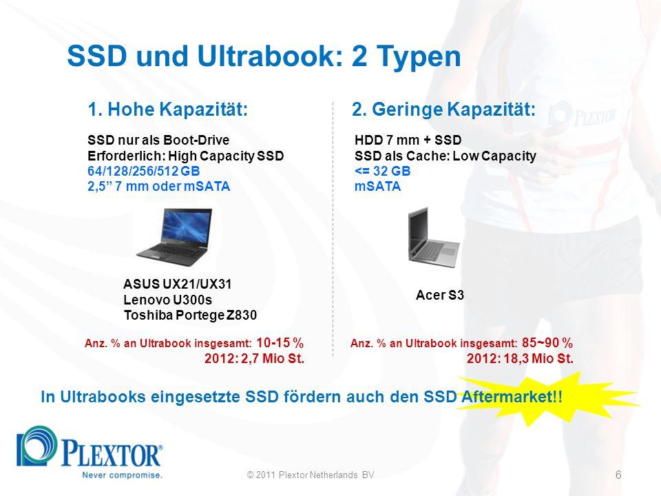 6 SSD und Ultrabook: 2 Typen SSD nur als Boot-Drive Erforderlich: High Capacity SSD 64/128/256/512 GB 2,5 7 mm oder mSATA HDD 7 mm + SSD SSD als Cache: Low Capacity <= 32 GB mSATA ASUS UX21/UX31 Lenovo U300s Toshiba Portege Z830 Acer S3 Anz.