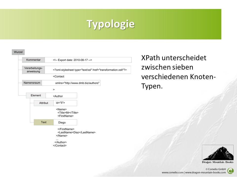 Typologie XPath unterscheidet zwischen sieben verschiedenen Knoten- Typen.