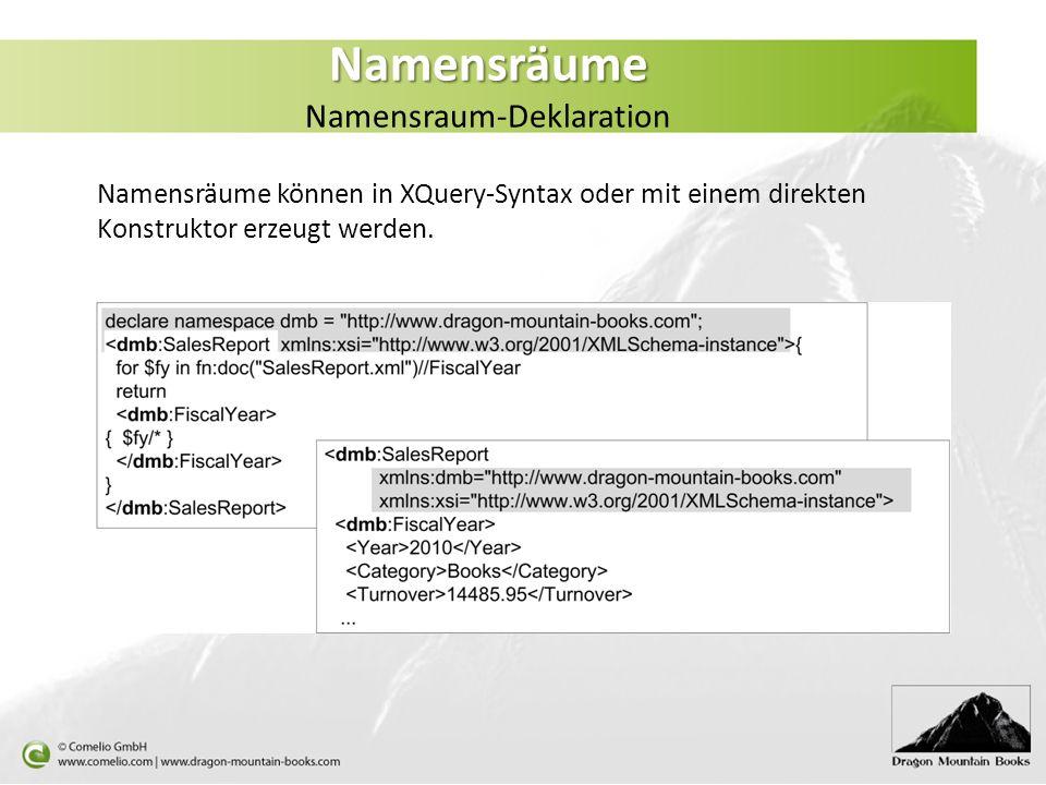 Namensräume Namensräume Namensraum-Deklaration Namensräume können in XQuery-Syntax oder mit einem direkten Konstruktor erzeugt werden.