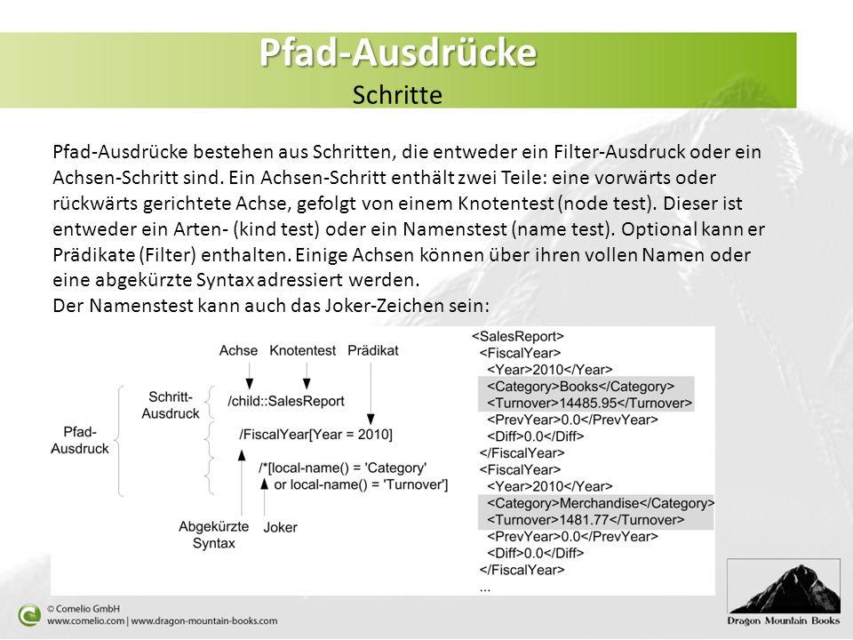 Pfad-Ausdrücke Pfad-Ausdrücke Schritte Pfad-Ausdrücke bestehen aus Schritten, die entweder ein Filter-Ausdruck oder ein Achsen-Schritt sind. Ein Achse