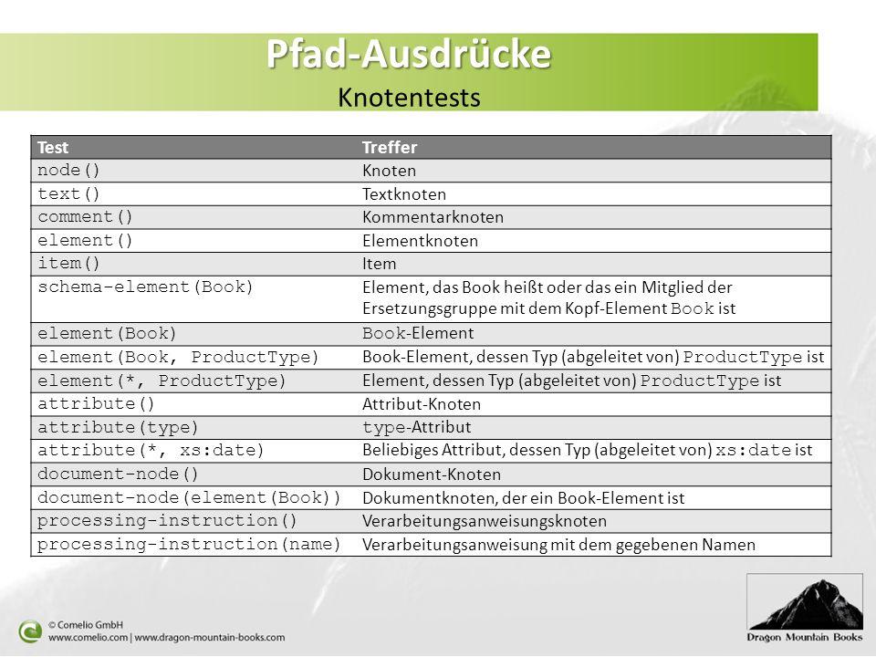 Pfad-Ausdrücke Pfad-Ausdrücke Knotentests TestTreffer node() Knoten text() Textknoten comment() Kommentarknoten element() Elementknoten item() Item sc