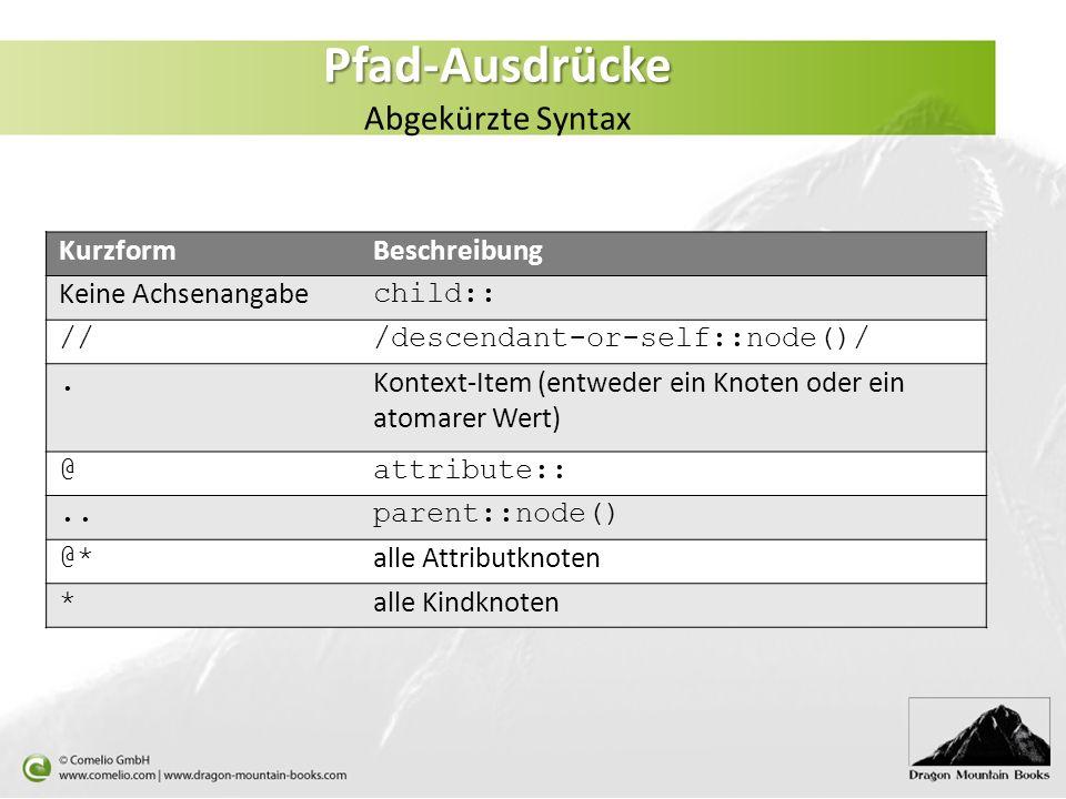 Pfad-Ausdrücke Pfad-Ausdrücke Abgekürzte Syntax KurzformBeschreibung Keine Achsenangabe child:: ///descendant-or-self::node()/. Kontext-Item (entweder