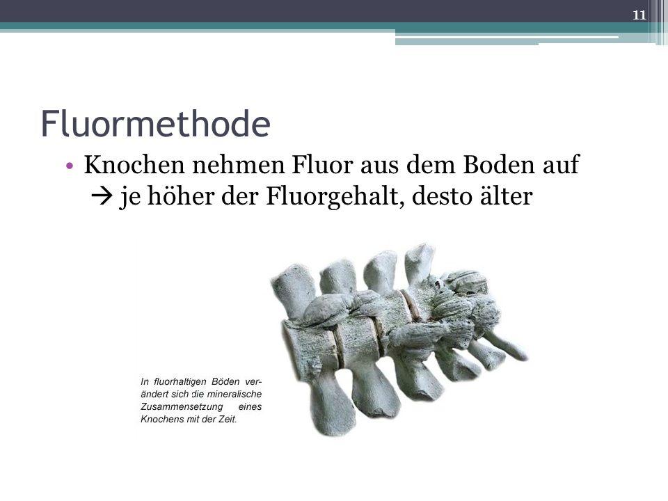 Fluormethode Knochen nehmen Fluor aus dem Boden auf je höher der Fluorgehalt, desto älter 11