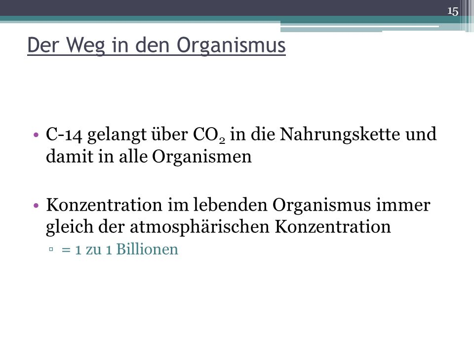 Der Weg in den Organismus C-14 gelangt über CO 2 in die Nahrungskette und damit in alle Organismen Konzentration im lebenden Organismus immer gleich d