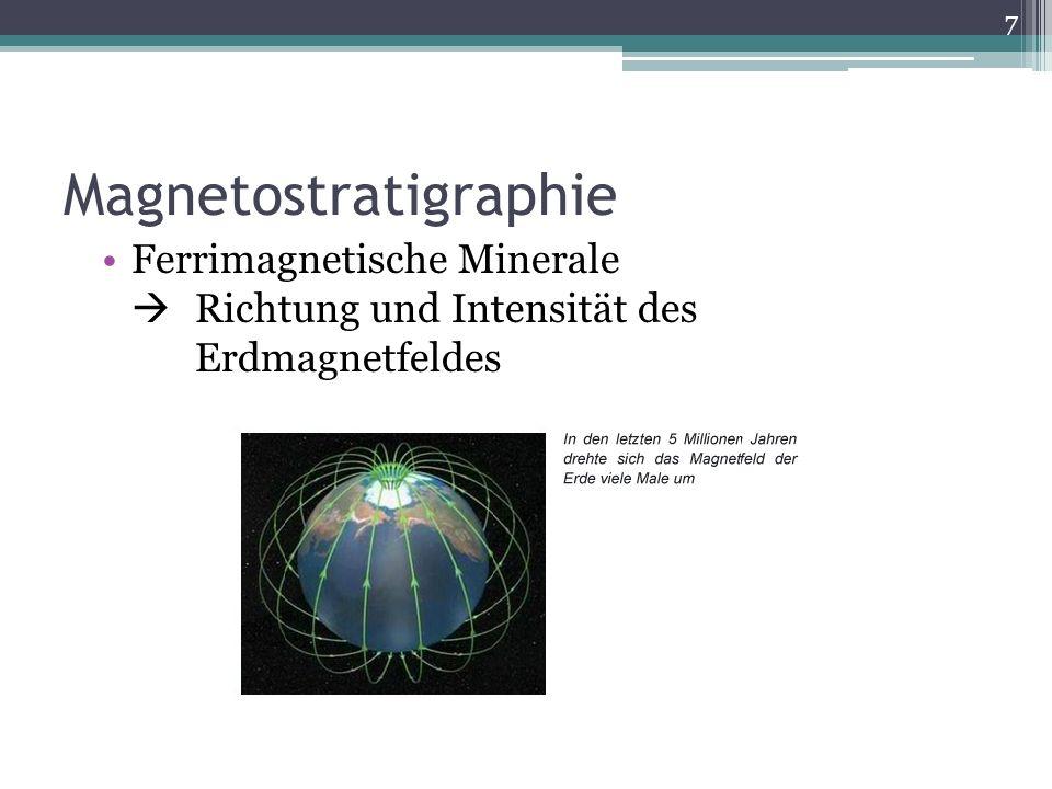 Magnetostratigraphie Ferrimagnetische Minerale Richtung und Intensität des Erdmagnetfeldes 7