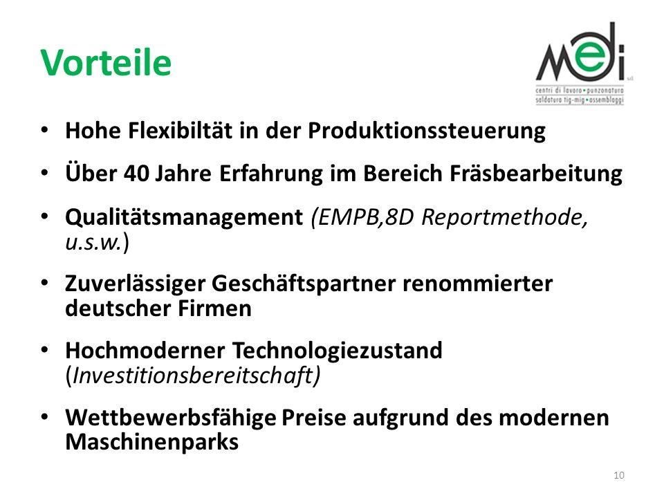 Vorteile Hohe Flexibiltät in der Produktionssteuerung Über 40 Jahre Erfahrung im Bereich Fräsbearbeitung Qualitätsmanagement (EMPB,8D Reportmethode, u