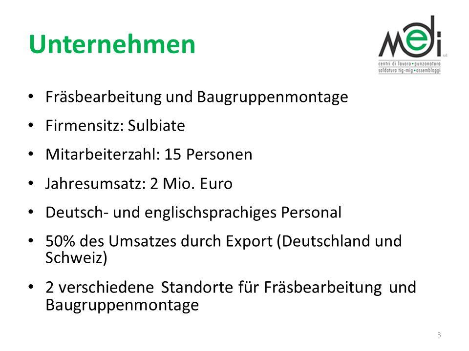 Unternehmen Fräsbearbeitung und Baugruppenmontage Firmensitz: Sulbiate Mitarbeiterzahl: 15 Personen Jahresumsatz: 2 Mio. Euro Deutsch- und englischspr