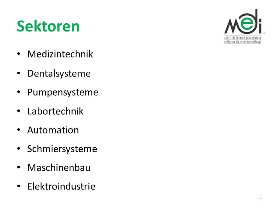 Sektoren Medizintechnik Dentalsysteme Pumpensysteme Labortechnik Automation Schmiersysteme Maschinenbau Elektroindustrie 7