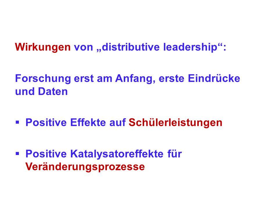 Wirkungen von distributive leadership: Forschung erst am Anfang, erste Eindrücke und Daten Positive Effekte auf Schülerleistungen Positive Katalysator